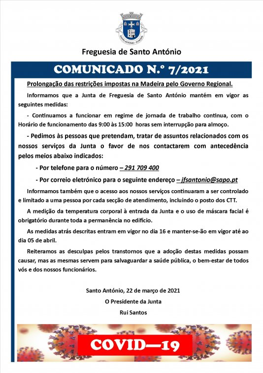 COMUNICADO N.º 7/2021